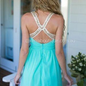 Mint gold flowy dress